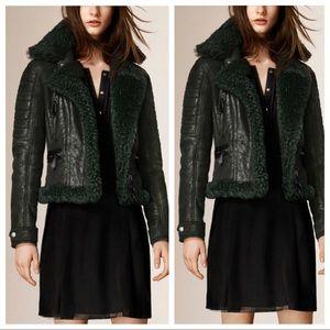 Burberry shearing leather biker jacket coat